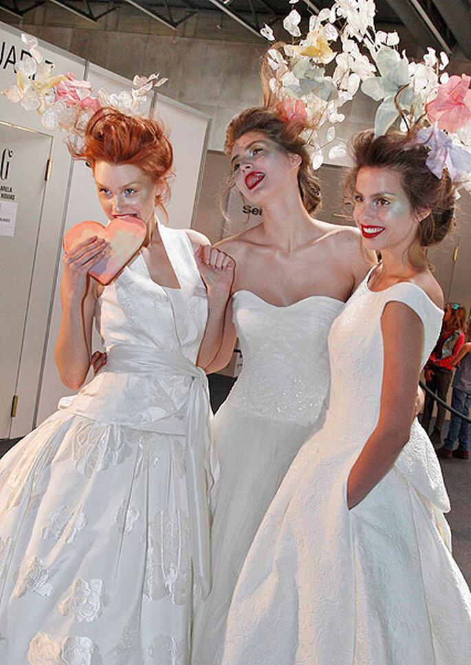 Tres novias en el backstage de Raimon Bundó 2013. Foto: Barcelona Bridal Wek