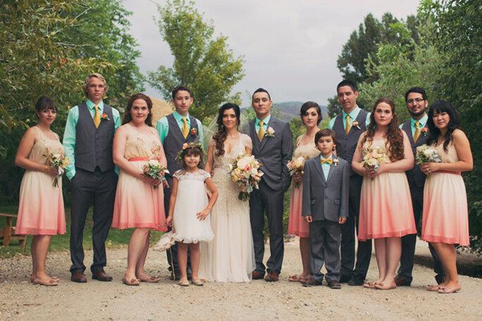 Blush + dorado en una boda vintage elegante. Foto: Alixann Loosle Photography
