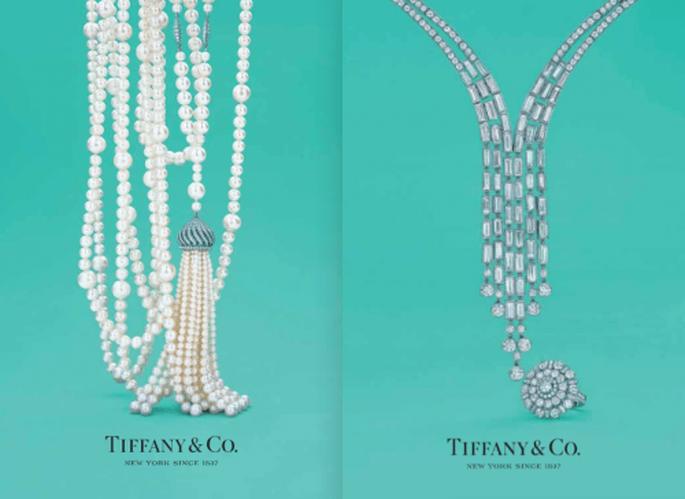 Collares largos de perlas y diamantes para novia inspirados en The Great Gatsby - Foto Tiffany