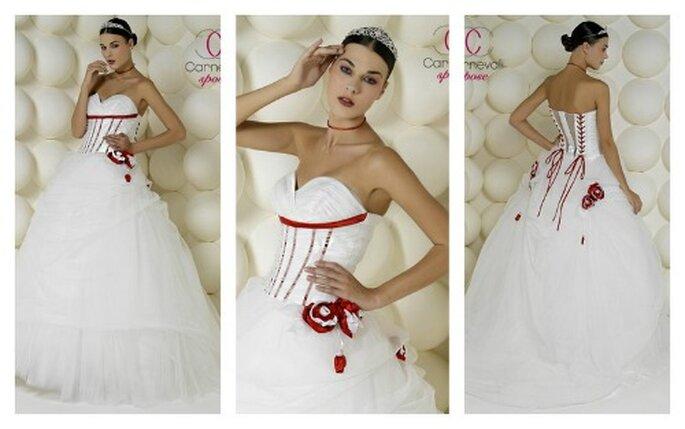 Dettagli rossi sul corpetto per questo abito con gonna in tulle di Carnevali Spose Collezione Glamour 2012
