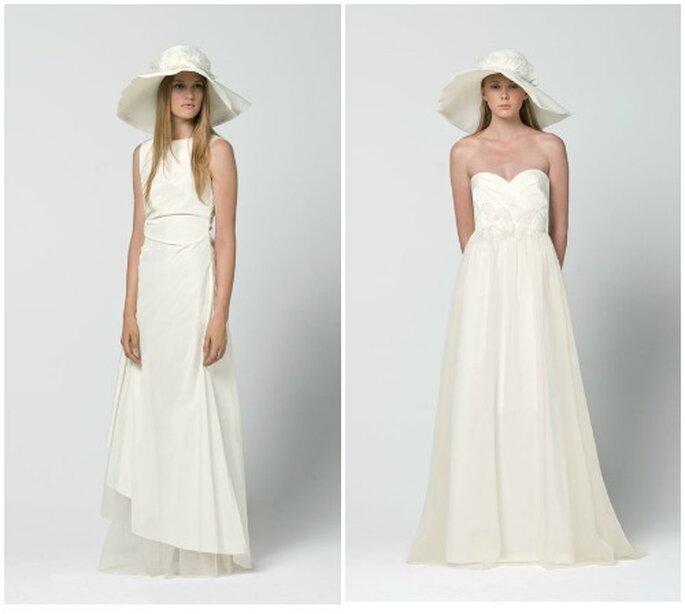 Due proposte minimal in bianco ottico. Max Mara 2013 Bridal Collection. Foto: www.maxmara.com