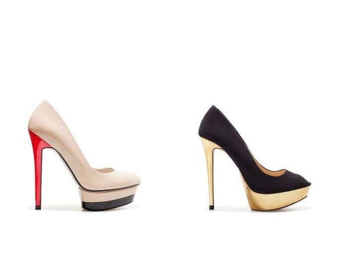 Tacco a stiletto vertiginoso, plateau in contrasto. Due belle soluzioni per l'invitata firmate Zara. Foto www.zara.com