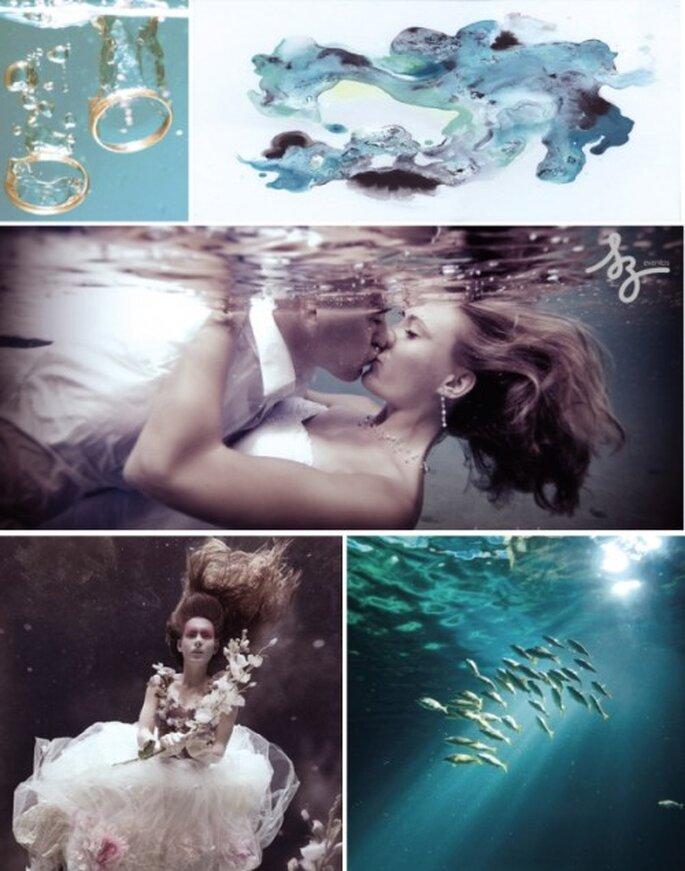 Collage de inspiración en Agua para decorar una boda. Fotos de Sachablue.com, Fashionbride,  Designsponge