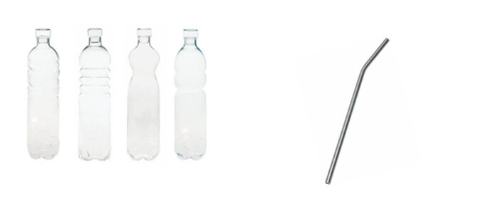 Bottiglie in vetro borosilicato e cannuccia in alluminio by SELAB. Foto: Seletti