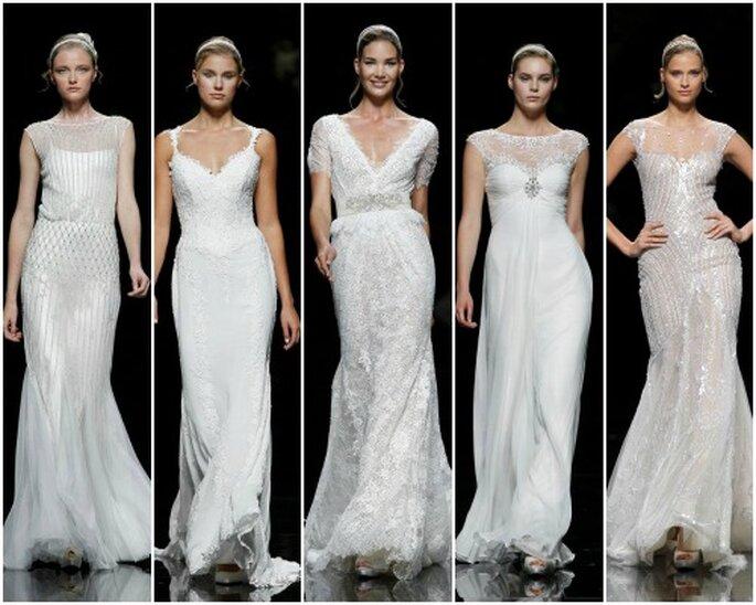 Vestidos de novia de línea fluída, de Pronovias 2013. Foto: Pronovias