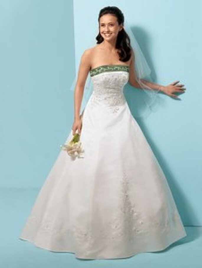 Strapless satin princess line gown by Alfred Angelo