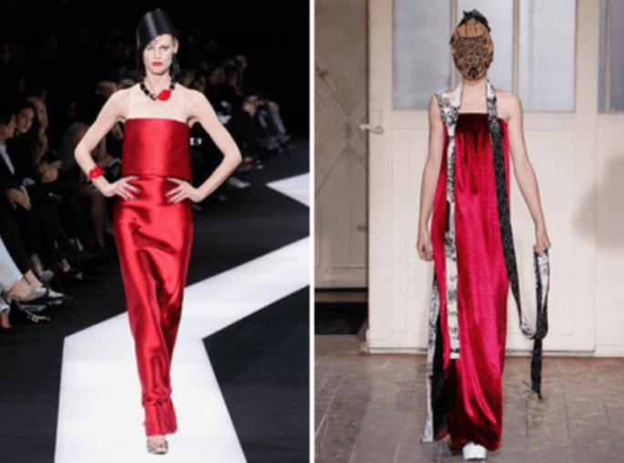El color rojo en tendencia para vestidos de invitadas de boda - Foto Armani Privé y Maison Martin Margiela