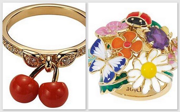 Anello ciliegie e Sortija, anello con composizione floreale