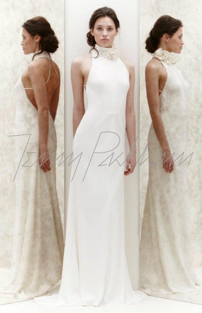 Vestido de novia con cuello halter y espalda descubierta - Foto Jenny Packham