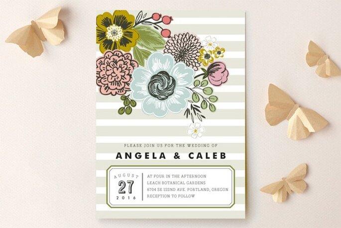 Flores para el diseño de invitaciones de boda - Foto Minted