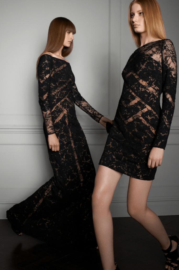 Vestidos de fiesta en color negro con detalles de transparencias y aplicaciones - Foto Elie Saab