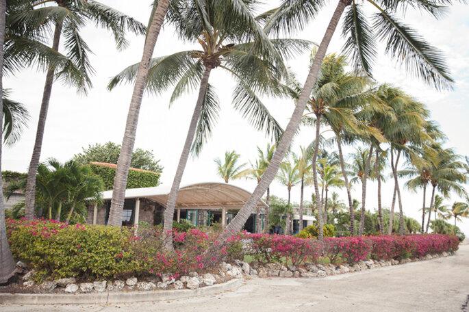 Una ceremonia moderna debajo de las palmeras con detalles en mandarina y rosado. Foto: 13:13 Photography