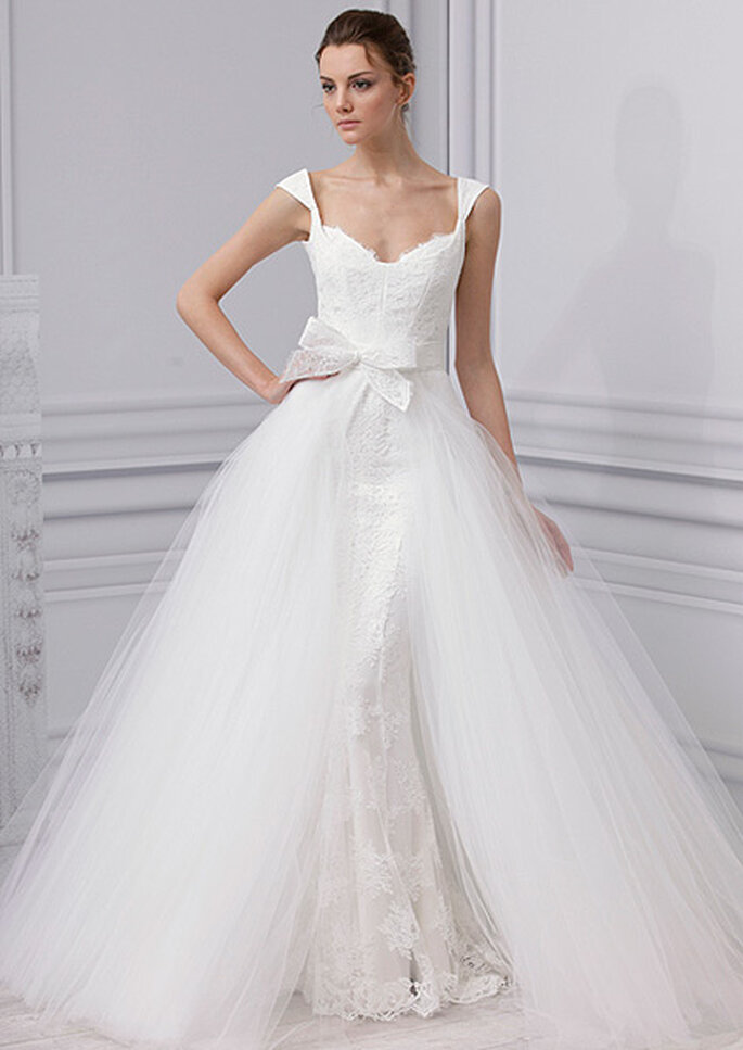 Vestido de novia princesa con manguita, de Monique Lhuillier 2013. Foto: Monique Lhuillier