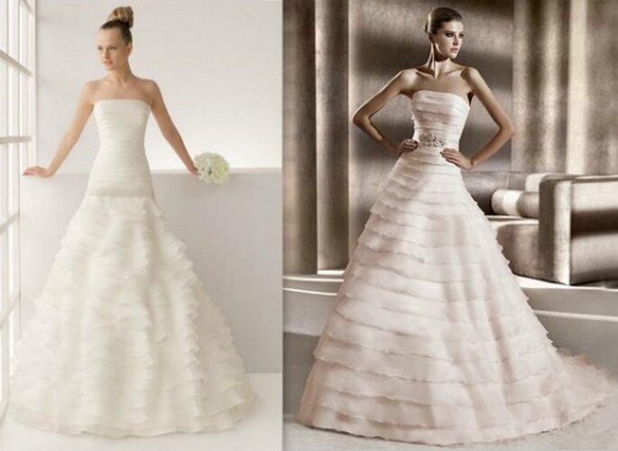 A sinistra Two by Rosa Clarà Collezione 2012 Mod. Lorraine. A destra Pronovias Collezione Glamour 2012 Mod. Biarritz.