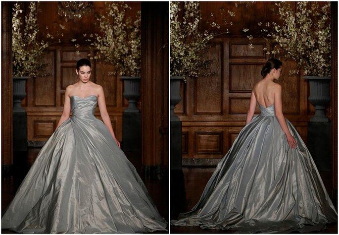 Elegante vestido de novia en color gris perla de Romona Keveza - Colección primavera 2014. Foto: www.romonakeveza.com
