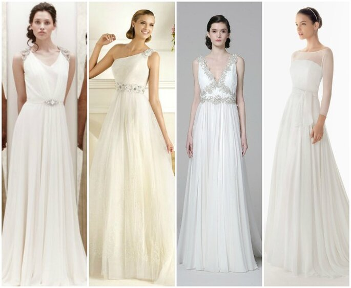 L'abito da sposa in chiffon è perfetto per qualunque corporatura. Da sinistra: Jenny Packham, Pronovias, Marchesa, Rosa Clarà.