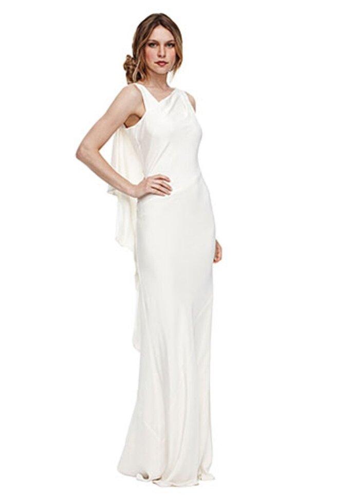 Vestido de novia moderno con tela suelta en la espalda - Foto Nicole Miller