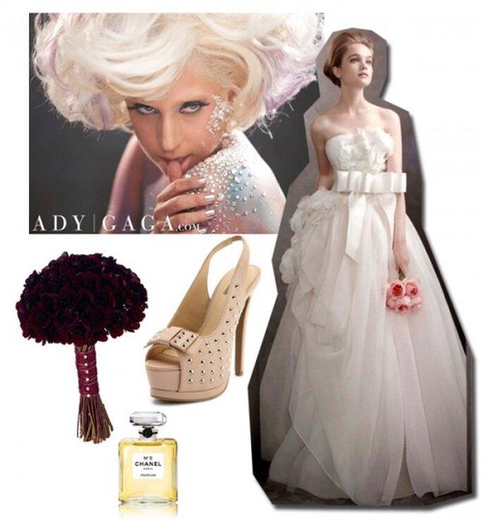 Look de novia inspirado en Lady GaGa - Foto Lady GaGa Facebook, Vestido Vera Wang, Zapatos, Charlotte Russe, Ramo arenaflowers.com