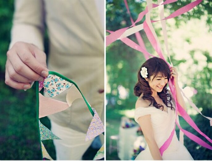 Usá tiras hechas a mano para decorar tu boda - Foto: Green Wedding Shoes