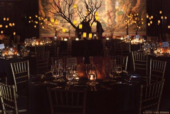 Elegante decoración inspirada en Halloween para una boda - Foto Alicia Oblander