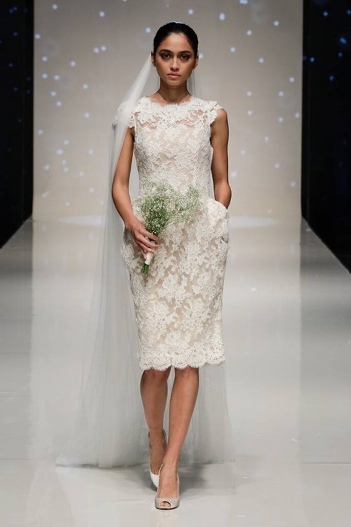 Vestido de novia 2014 en color blanco confeccionado con encaje y mangas cortas - Foto Elizabeth Stuart