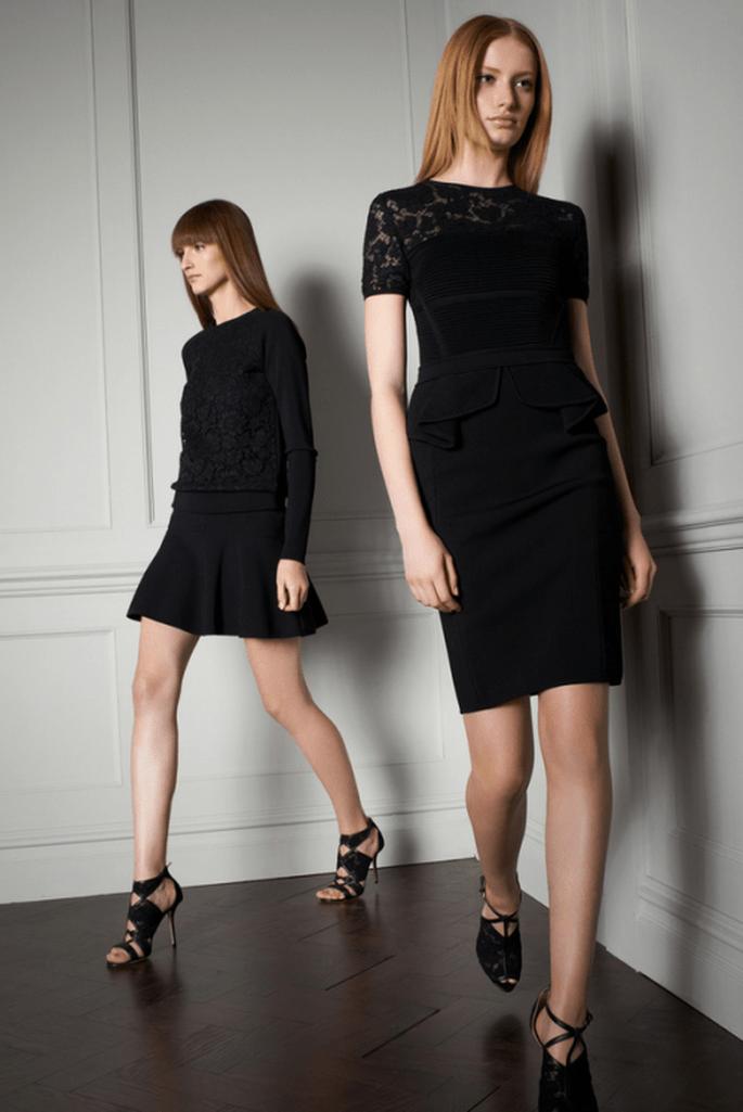 Vestidos de fiesta en color negro con mangas para lucir trendy en una boda 2014 - Foto Elie Saab