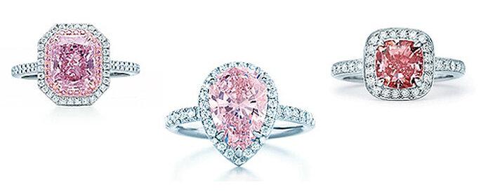 Diamants blancs et roses sur platine, Tiffany
