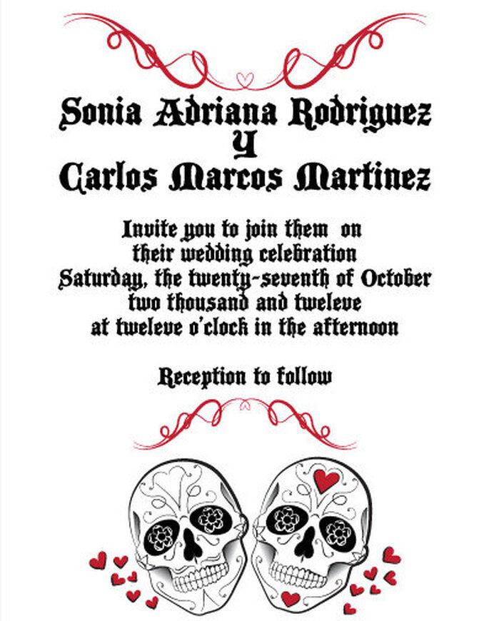 Invitaciones de boda inspiradas en la noche de muertos mexicana. Foto: www.etsy.com