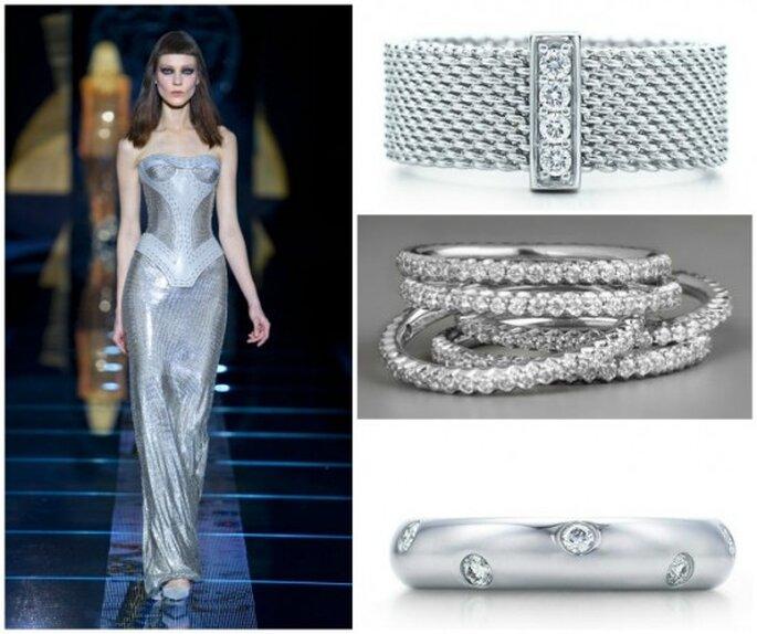 Fotos de: Vestido, Versace Out. 2012-13.Pulseiras singulares com diamantes, Tiffany & Co conjunto de pulseiras com diamantes, Roberto Coin.