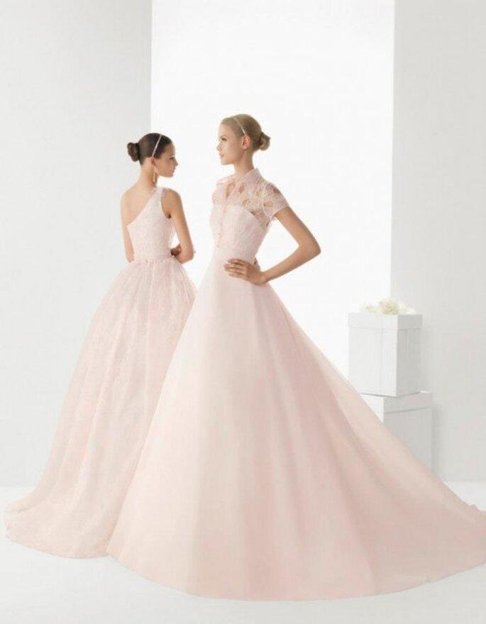 Vestidos de novia en color rosa pastel Modelo Birmania y Modelo Blonda - Foto Rosa Clará