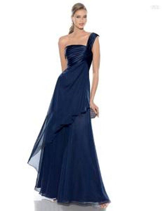 Pronovias Cóctel 2010 - Jaiba, vestido largo de talle alto en azul marino, en sedas, escote transversal