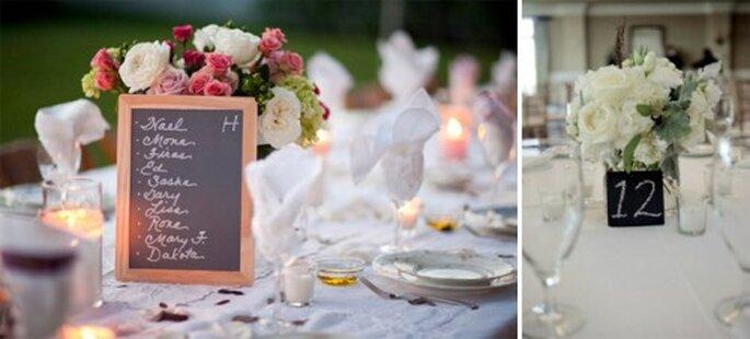 Centros de mesa con pizarrones para bodas - Foto UniqueChicDesigns