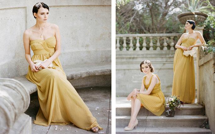 Vestidos para damas de honor estilo vintage en color mostaza - Foto: Ruche
