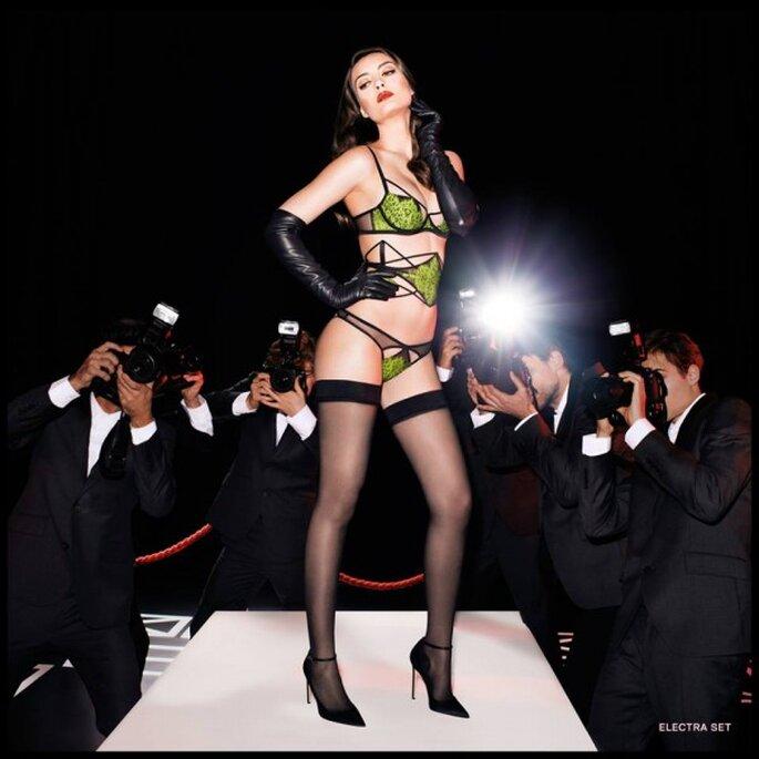 Conjunto sexy de lencería en color verde intenso - Foto Agent Provocateur