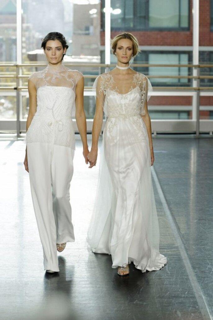 Vestidos de novia 2014 con cuello ilusión y mangas cortas - Foto Rivini