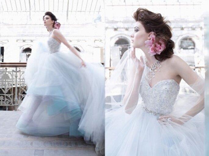 Robe de mariée bleue pastel - Photo Lazaro 2013