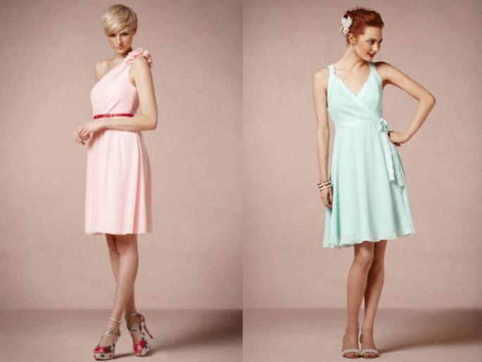 Vestidos cortos en colores nude para damas de boda - Foto BHLDN