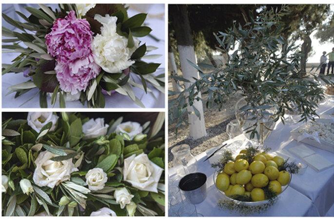 Flores, cores e sabores dos países das famílias dos noivos usados na decoração e no buffet. Foto: Charlotte Valade