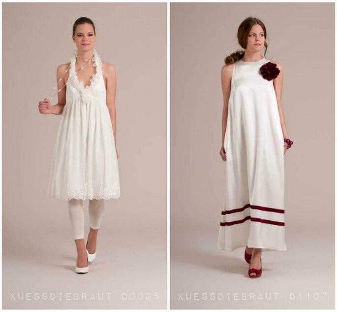 Desenfadas propuestas de vestidos de novia al tobillo. Foto Kuess Die Braut