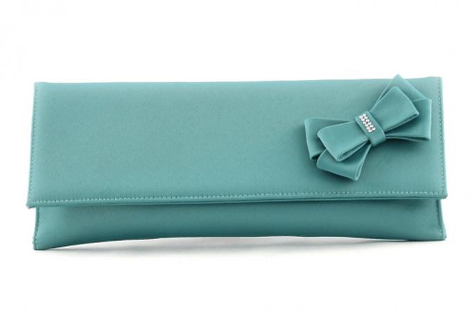 Bolso de fiesta en color azul turquesa con detalle de moño - Foto Aire Barcelona