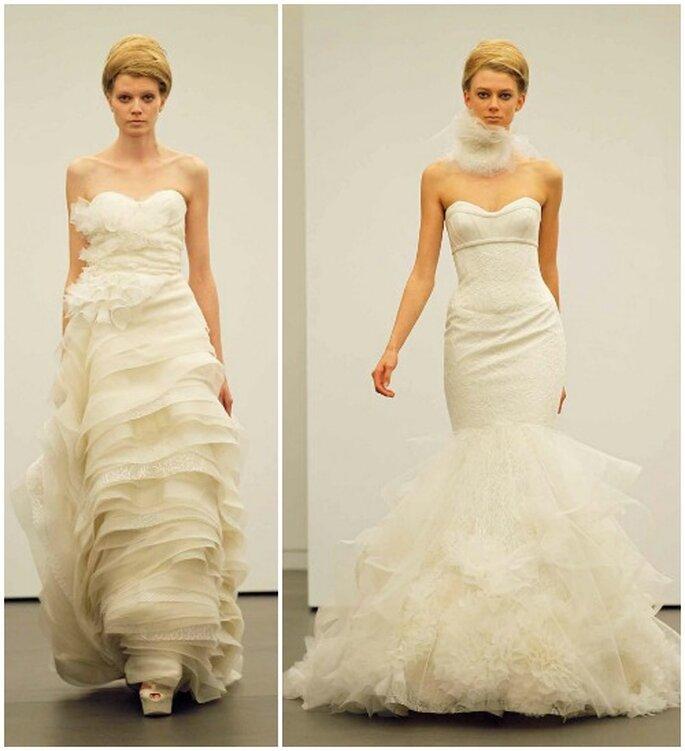 Deux robes de mariée avec des volumes ultra féminins.Vera Wang automne 2013. Photo: www.verawang.com