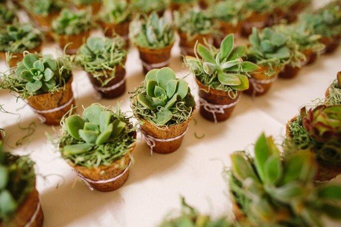 Puedes decorar toda tu boda con elegantes macetitas de suculentas - Foto Danielle Capito Photography