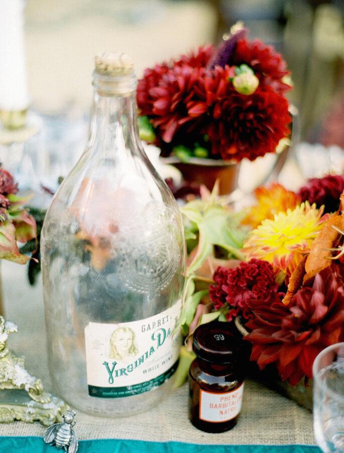 Centros de mesa con flores en color marsala - Jose Villa
