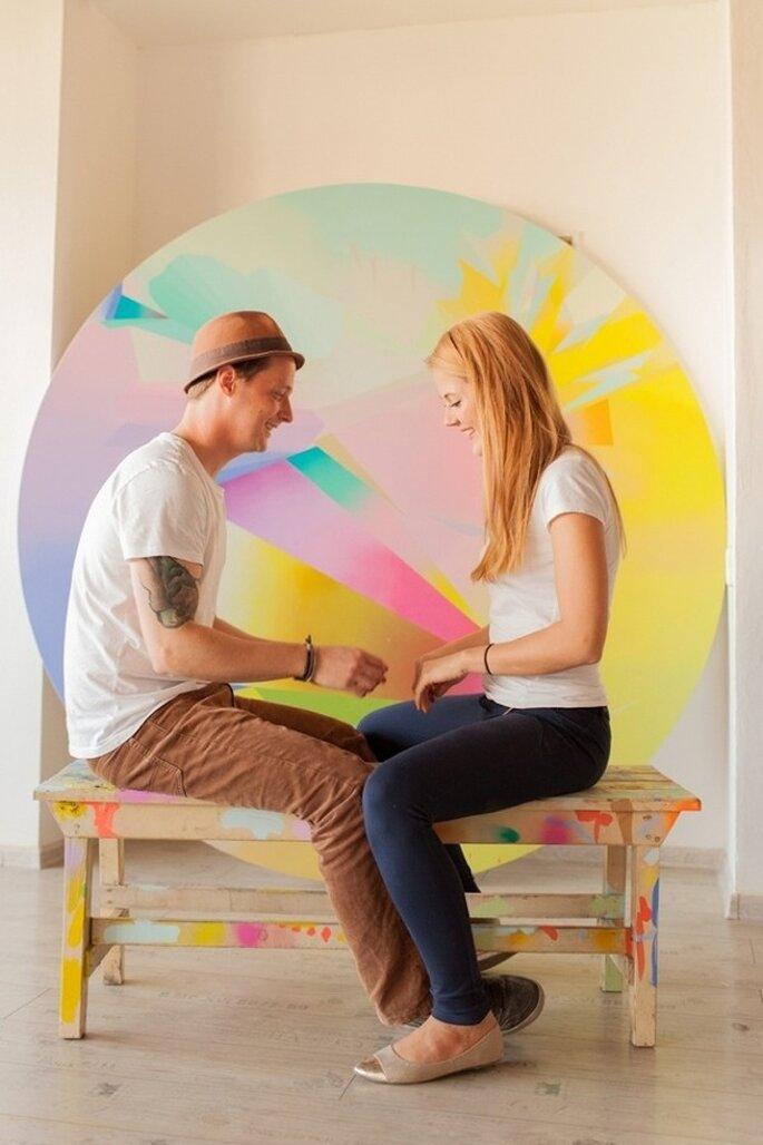Una increíble sesión de fotos pre boda con inspiración artística - Foto Peter & Veronika