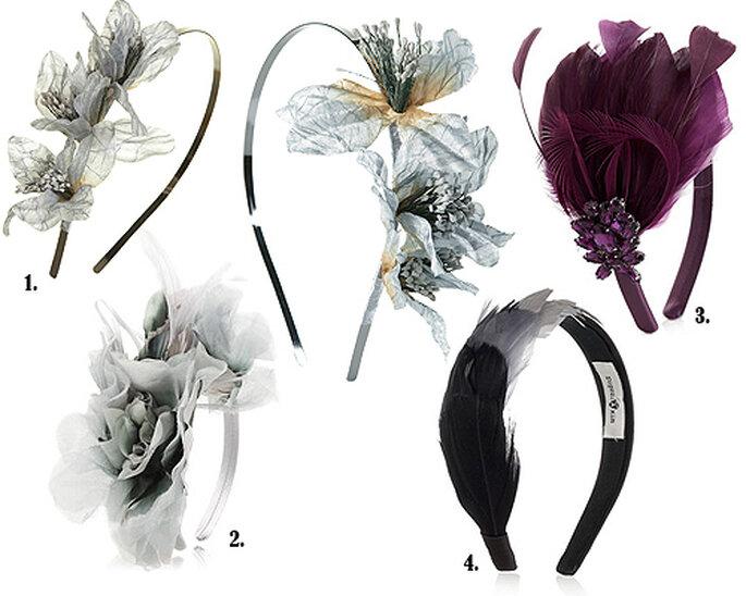 1. Diadema metálica con orquídeas, de Topshop. 2. Con flores de tela en color perla, de Accesorize. 3. Con plumas y pedrería de color morado, de Accesorize. 4. En satén y plumas, de Eugenia Kim