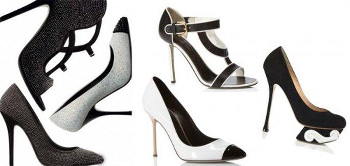 Zapatos de novia 2013 en color blanco y negro - Foto M'oda 'Operandi, Giuseppe Zanotti