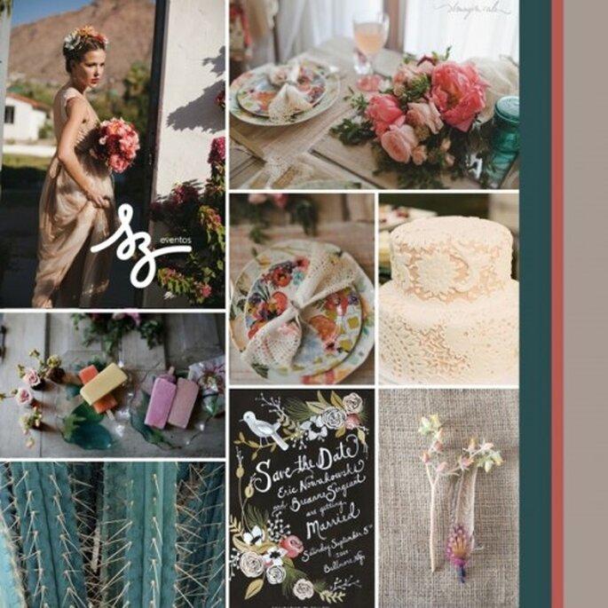 Collage de inspiración para una boda con aire rústico - Fotos de imaginale.blogspot.mx, blogdelanine.blogspot.mx, 100layercake.com, hwtm.com, wedshare.com - Diseño de Raisa Torres para SZ Eventos