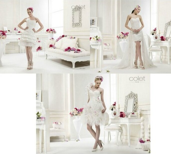 Tre modelli corti adatti ad una sposa giovane e sbarazzina. Collezione 2012 Colet by Nicole Spose