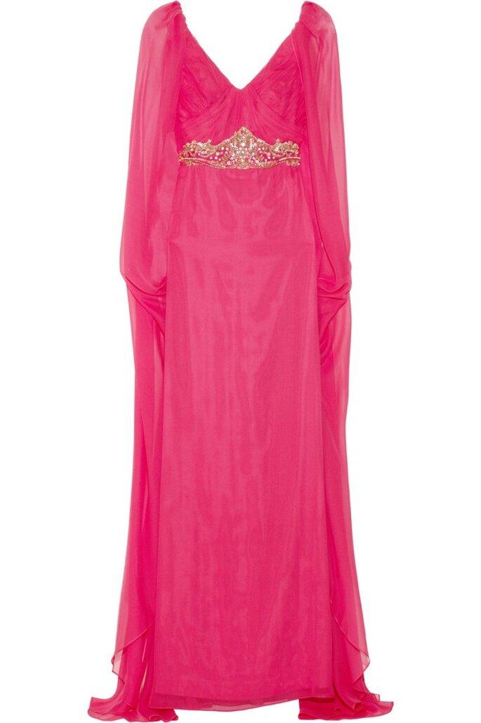 Vestido de fiesta en color rosa intenso con pedrería de Notte by Marchesa - Foto Net a Porter