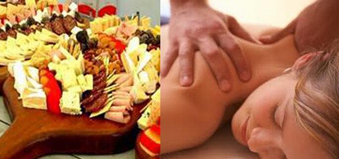 Spa Manicure Party tiene estaciones de masajes y de comida.